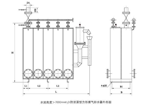 防泄漏方形煤气排水器
